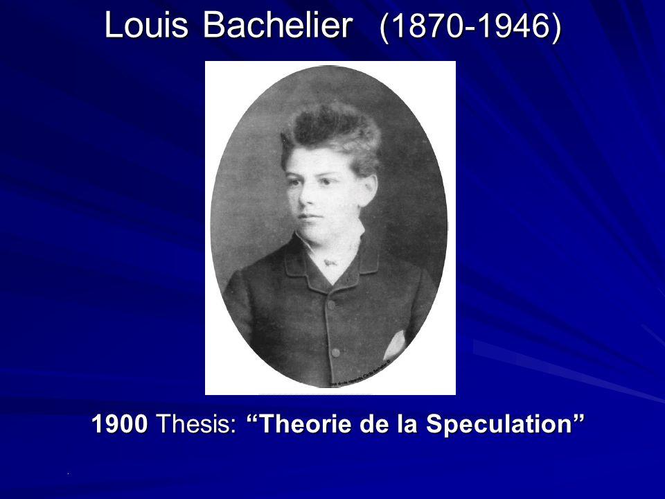 Louis Bachelier (1870-1946) 1900 Thesis: Theorie de la Speculation .