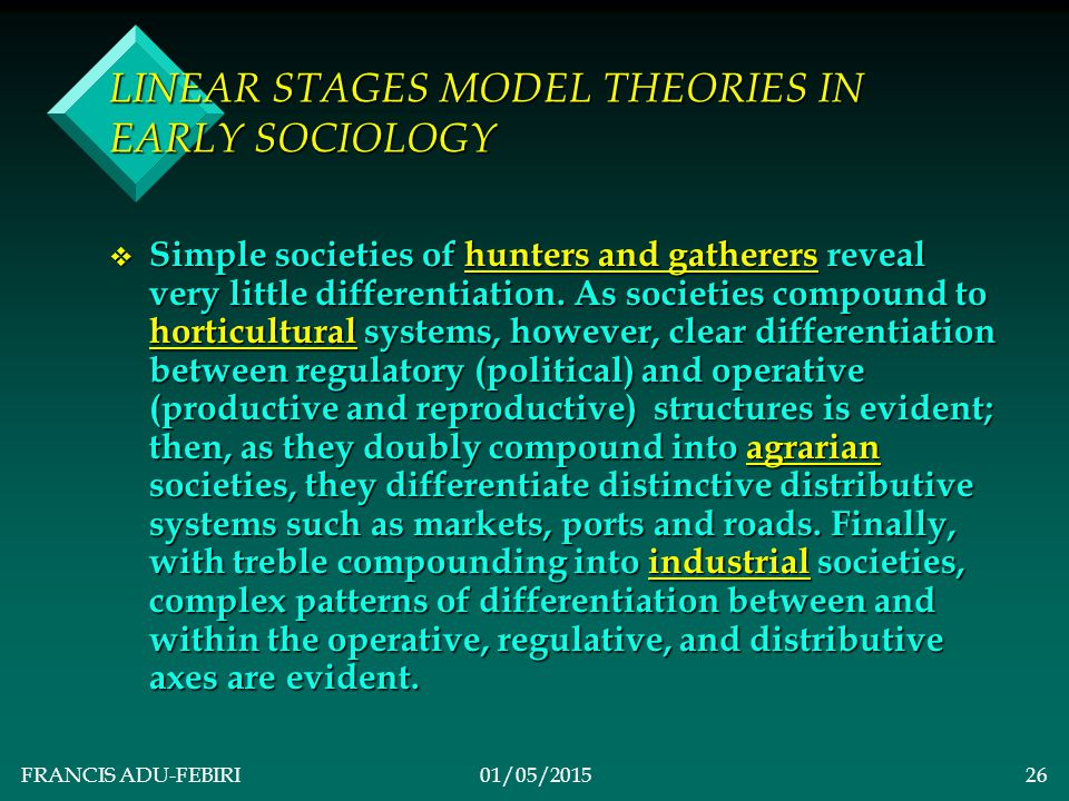 FRANCIS ADU-FEBIRI01/05/201525 LINEAR STAGES MODEL THEORIES IN EARLY SOCIOLOGY v 2.