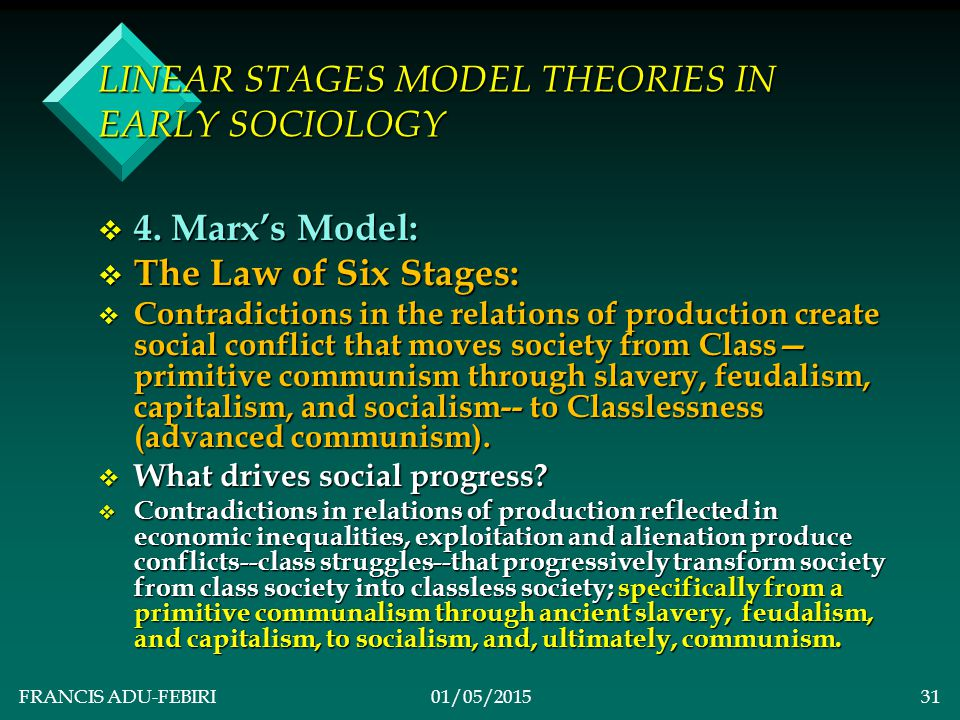 FRANCIS ADU-FEBIRI01/05/201530 LINEAR STAGES MODEL THEORIES IN EARLY SOCIOLOGY v ACCOMPANYING CONCEPTS & DEFINITIONS v Mechanical Solidarity Stage: v This is an initial stage of evolution when society is characterised by hunting/gathering with little differentiation.