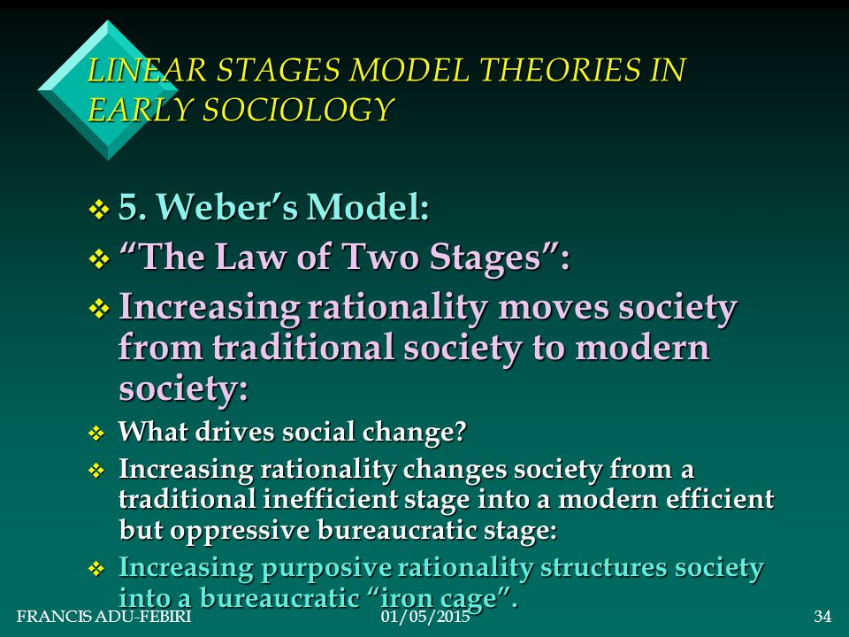 FRANCIS ADU-FEBIRI01/05/201533 LINEAR STAGES MODEL THEORIES IN EARLY SOCIOLOGY v Capitalism: v Industrialization takes a central stage exploiting the working classes (proletariat) for the benefit of the upper classes (bourgeoisie).