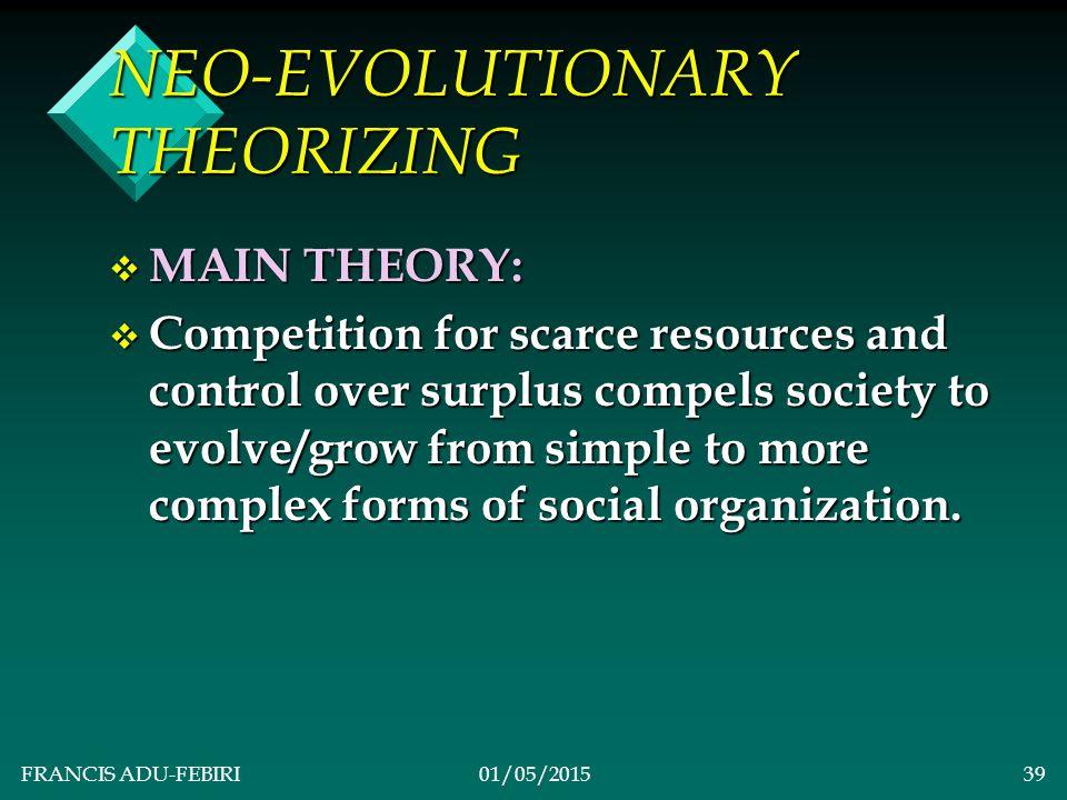 FRANCIS ADU-FEBIRI01/05/201538 v NEO-EVOLUTIONARY THEORIZING