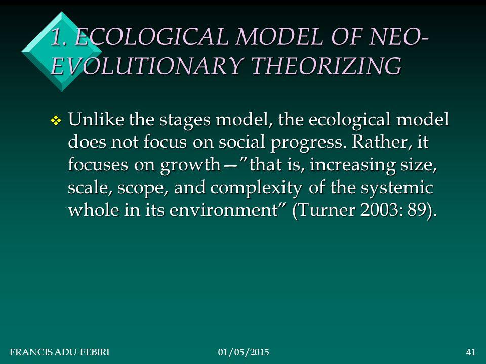 FRANCIS ADU-FEBIRI01/05/201540 NEO-EVOLUTIONARY THEORISTS v Amos Hawley v Gerhard Lenski v Jurgen Habermas v Anthony Giddens v Immanuel Wallerstein