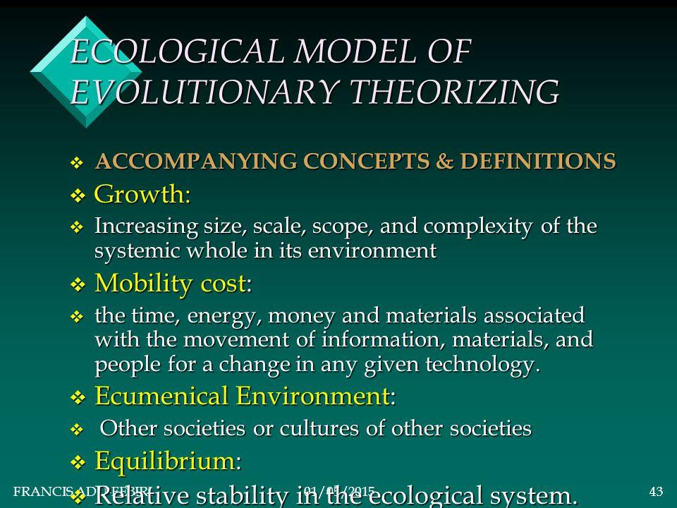 FRANCIS ADU-FEBIRI01/05/201542 ECOLOGICAL MODEL OF NEO- EVOLUTIONARY THEORIZING vAvAvAvAmos Hawley's Ecological Model: vMvMvMvMain Theory: A society's