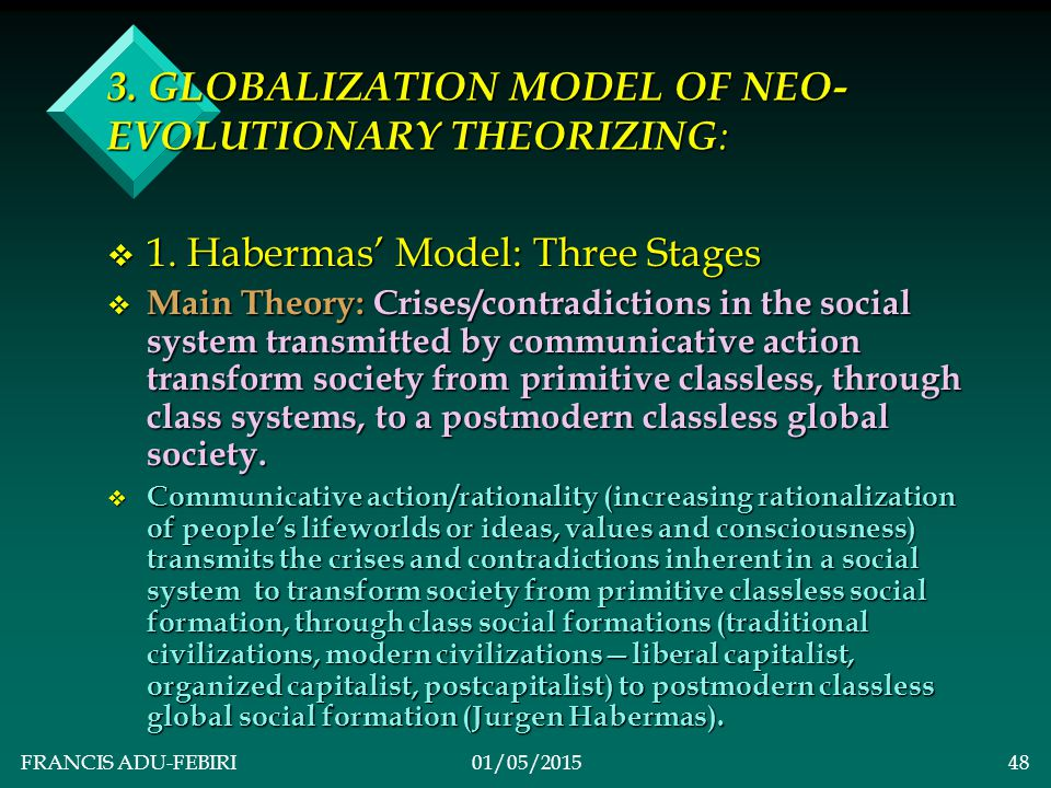 FRANCIS ADU-FEBIRI01/05/201547 v MainTheory: v Traditional societies disintegrate into transitional modern capitalist nation- states and eventually into a global society.