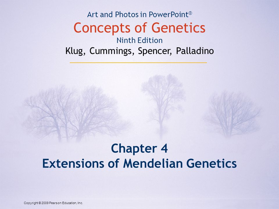 Copyright © 2009 Pearson Education, Inc. Chapter 4 Extensions of Mendelian Genetics Art and Photos in PowerPoint ® Concepts of Genetics Ninth Edition