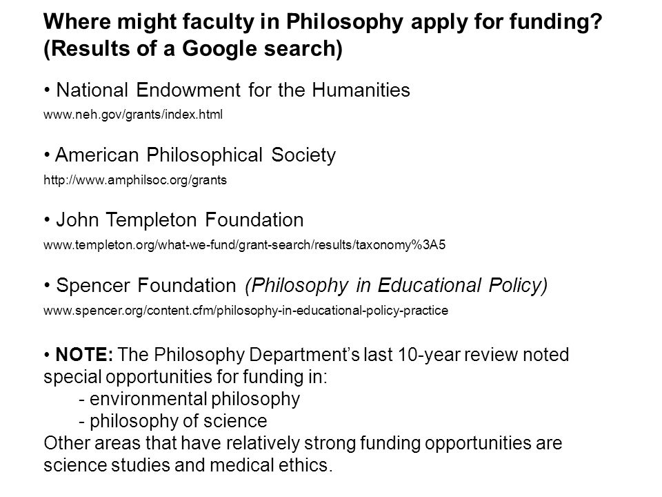 Where might faculty in Philosophy apply for funding.