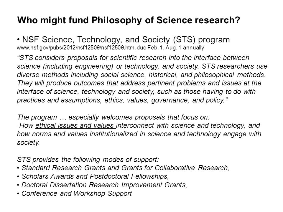 Who might fund Philosophy of Science research.