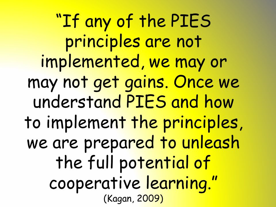 """""""If any of the PIES principles are not implemented, we may or may not get gains. Once we understand PIES and how to implement the principles, we are p"""
