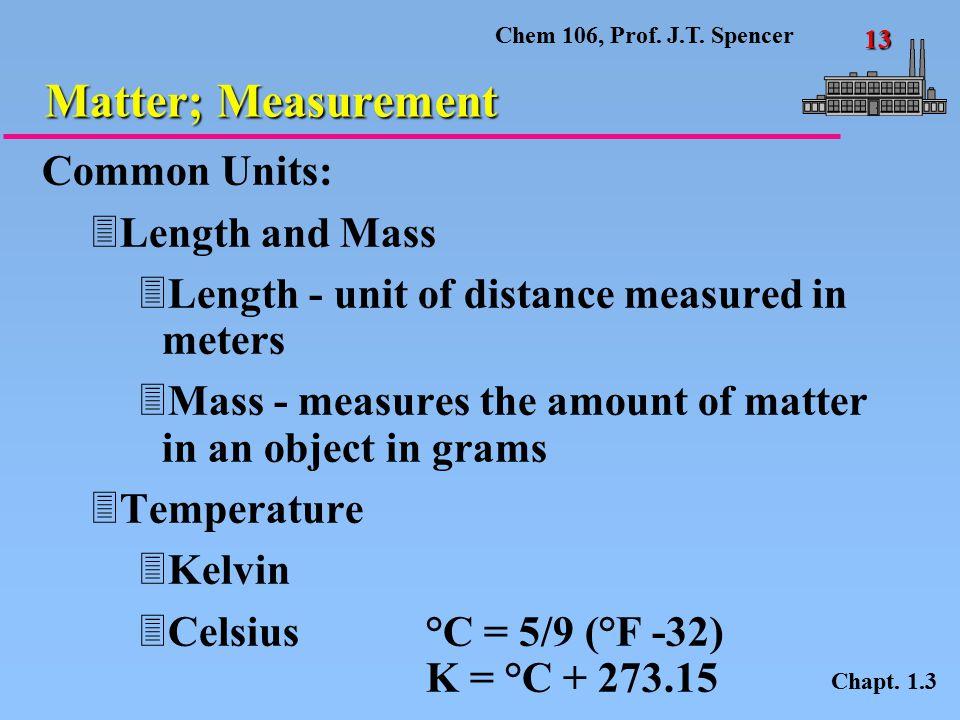 Chem 106, Prof.J.T. Spencer 13 Matter; Measurement Chapt.