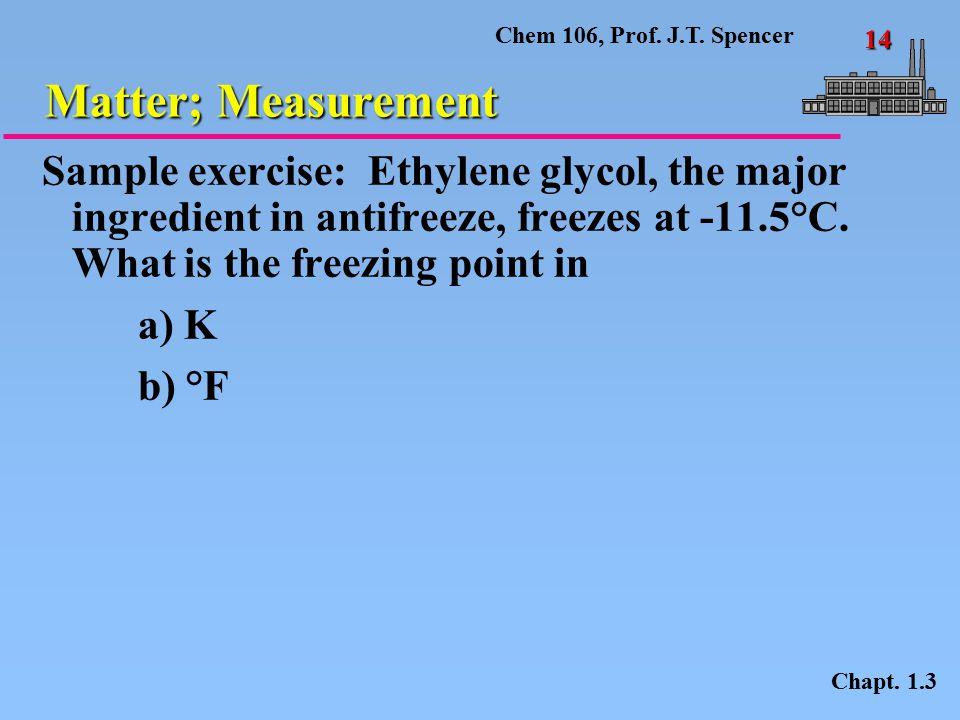 Chem 106, Prof.J.T. Spencer 14 Matter; Measurement Chapt.