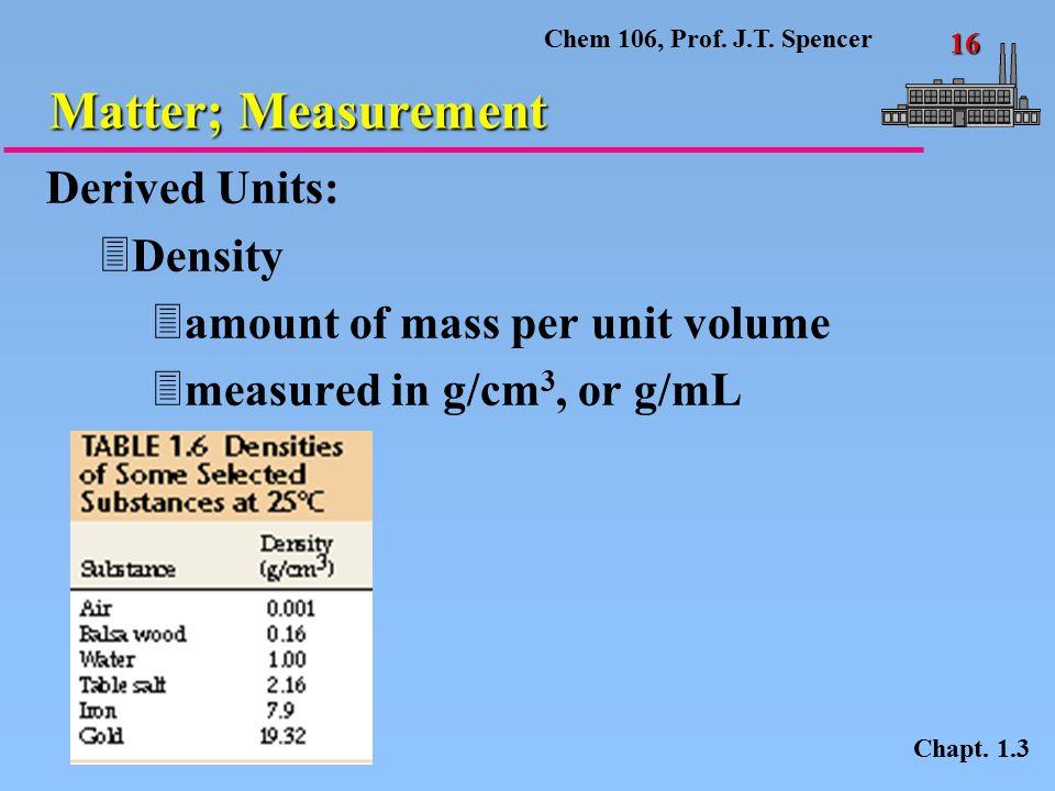 Chem 106, Prof.J.T. Spencer 16 Matter; Measurement Chapt.