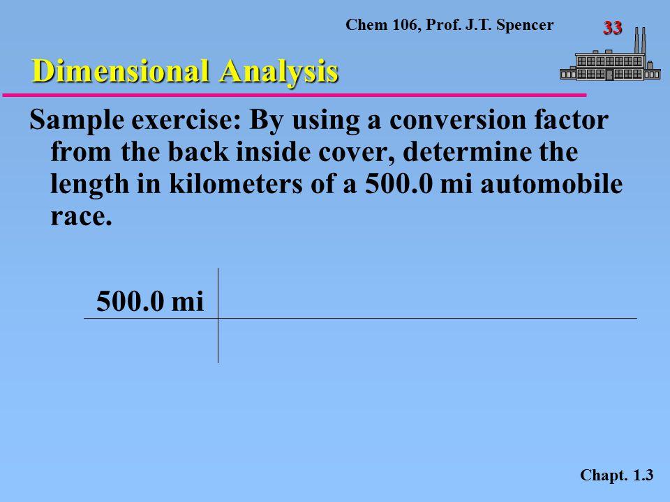 Chem 106, Prof.J.T. Spencer 33 Dimensional Analysis Chapt.