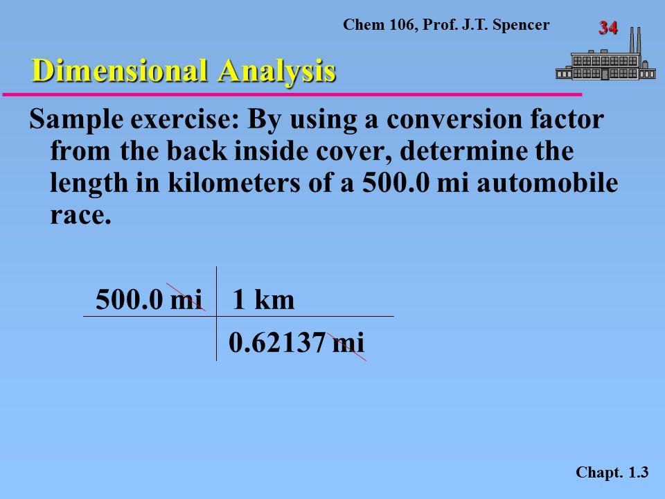 Chem 106, Prof.J.T. Spencer 34 Dimensional Analysis Chapt.