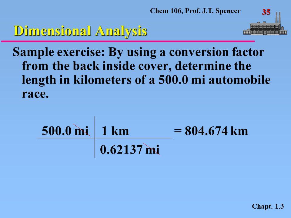 Chem 106, Prof.J.T. Spencer 35 Dimensional Analysis Chapt.