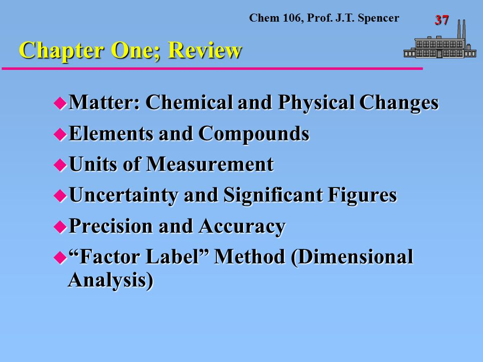 Chem 106, Prof. J.T. Spencer 37 u Matter: Chemical and Physical Changes u Elements and Compounds u Units of Measurement u Uncertainty and Significant