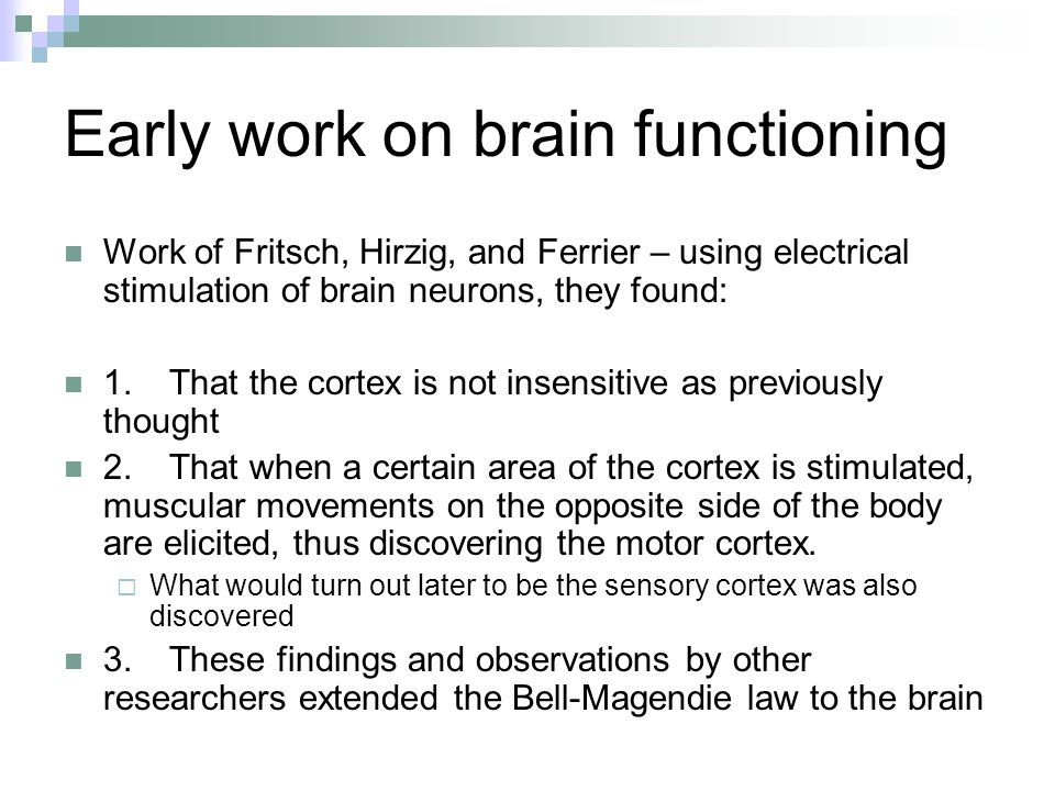 Early work on brain functioning Work of Fritsch, Hirzig, and Ferrier – using electrical stimulation of brain neurons, they found: 1.That the cortex is not insensitive as previously thought 2.That when a certain area of the cortex is stimulated, muscular movements on the opposite side of the body are elicited, thus discovering the motor cortex.