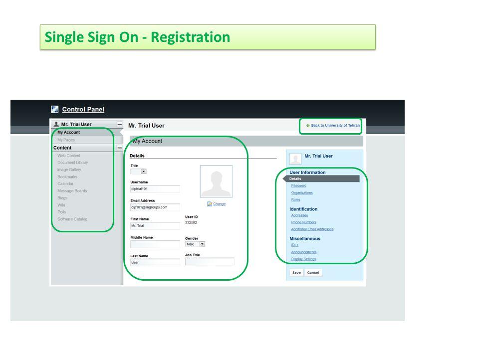 Single Sign On - Registration