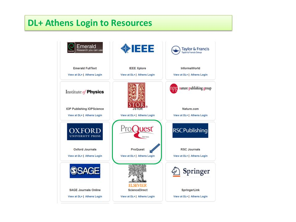 DL+ Athens Login to Resources