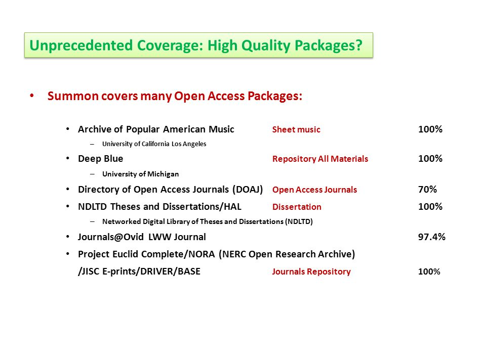 Unprecedented Coverage: High Quality Packages.