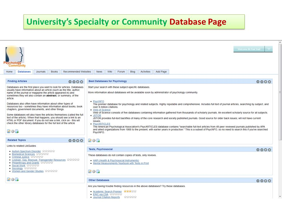 University's Specialty or Community Database Page
