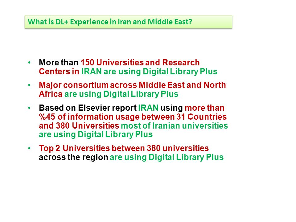 What is DL+ Experience in Iran and Middle East? More than 150 Universities and Research Centers in IRAN are using Digital Library Plus Major consortiu