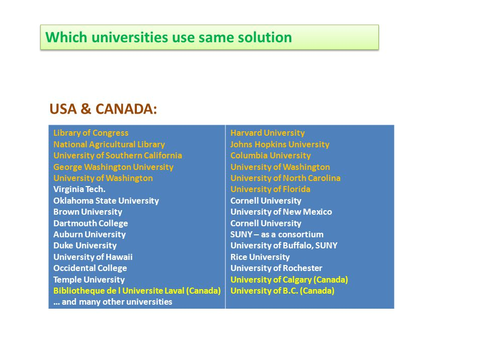 Which universities use same solution Library of Congress National Agricultural Library University of Southern California George Washington University