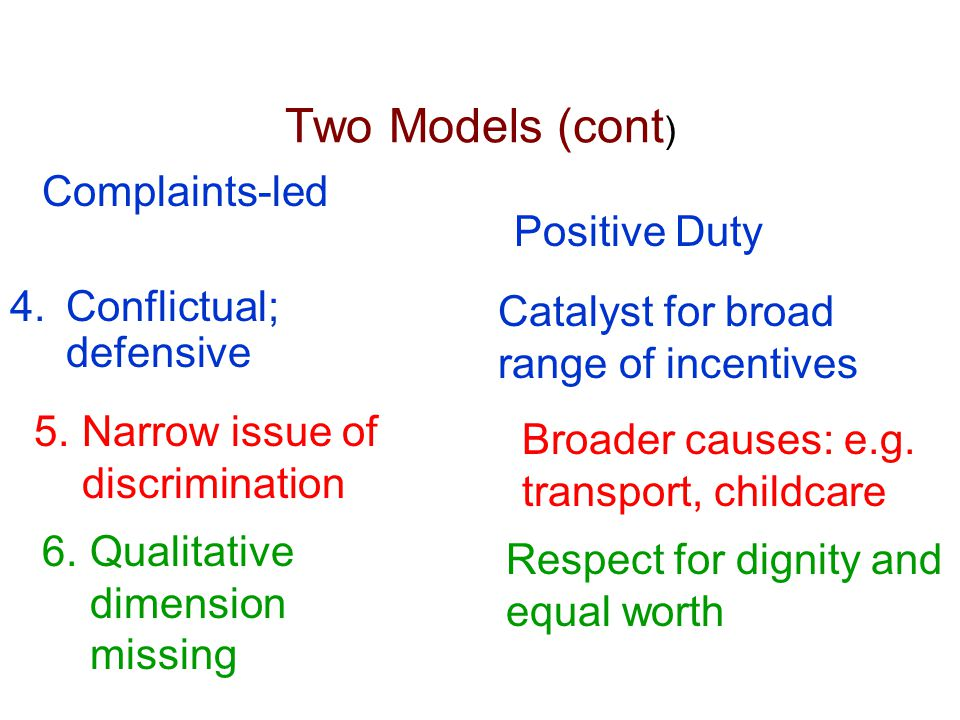 Two Models (cont ) 4.Conflictual; defensive Catalyst for broad range of incentives 5.Narrow issue of discrimination Broader causes: e.g. transport, ch