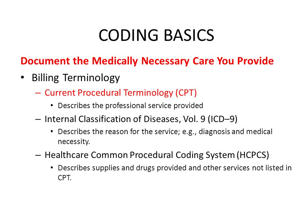 CODING BASICS Document the Medically Necessary Care You Provide Billing Terminology – Current Procedural Terminology (CPT) Describes the professional service provided – Internal Classification of Diseases, Vol.