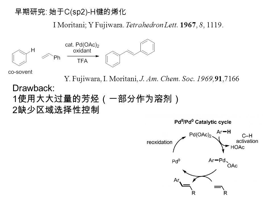 早期研究 : 始于 C(sp2)-H 键的烯化 I Moritani; Y Fujiwara. Tetrahedron Lett.