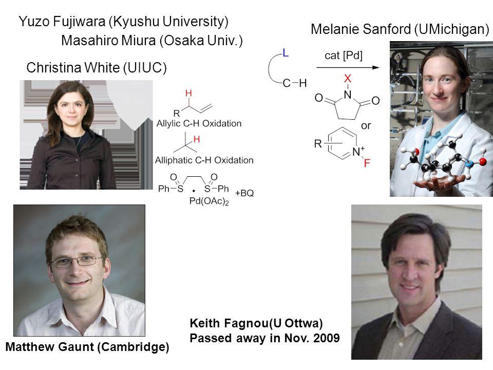 Christina White (UIUC) Melanie Sanford (UMichigan) Keith Fagnou(U Ottwa) Passed away in Nov.