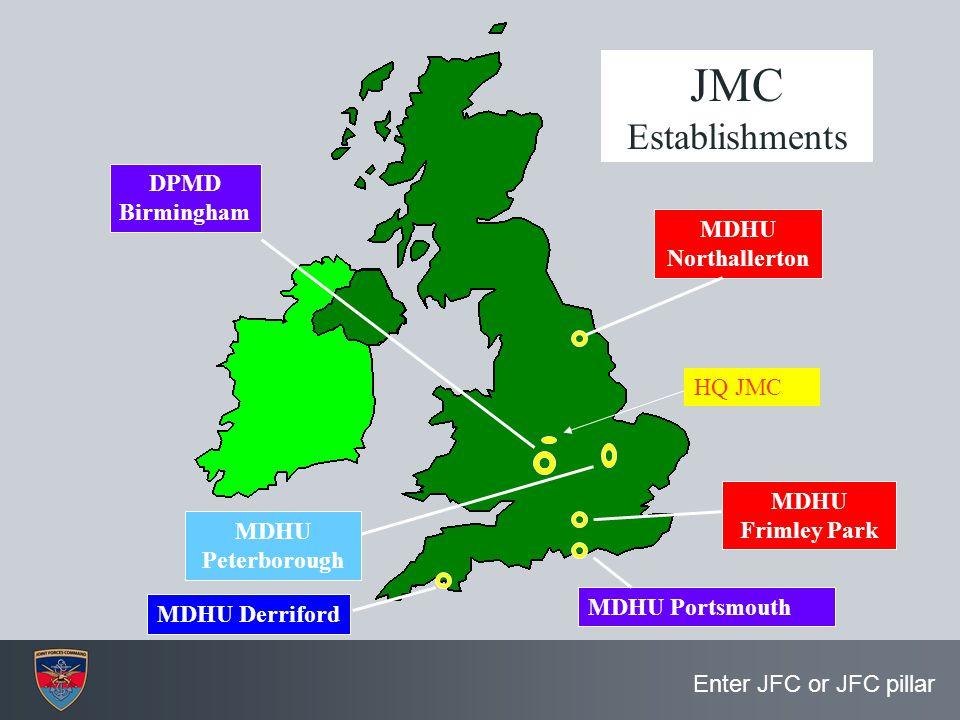 Enter JFC or JFC pillar MDHU Frimley Park MDHU Portsmouth MDHU Derriford MDHU Northallerton MDHU Peterborough DPMD Birmingham JMC Establishments HQ JM