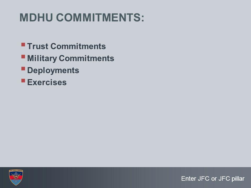 Enter JFC or JFC pillar MDHU COMMITMENTS:  Trust Commitments  Military Commitments  Deployments  Exercises