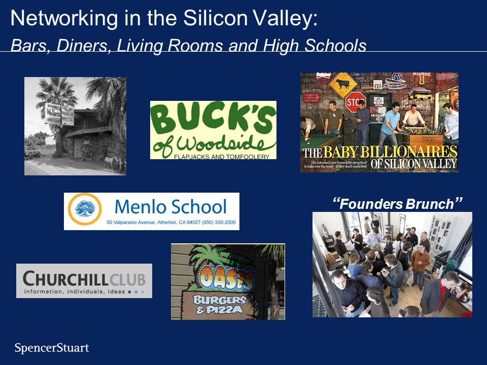 Networking in the Silicon Valley: Bars, Diners, Living Rooms and High Schools Founders Brunch