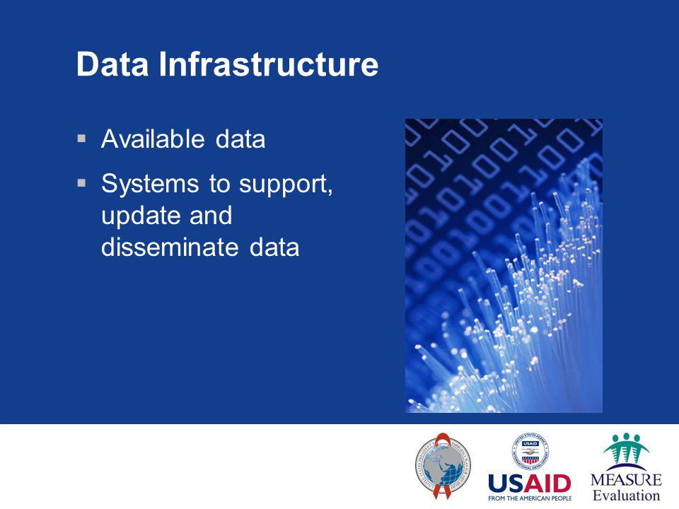 Data Infrastructure  Available data  Systems to support, update and disseminate data