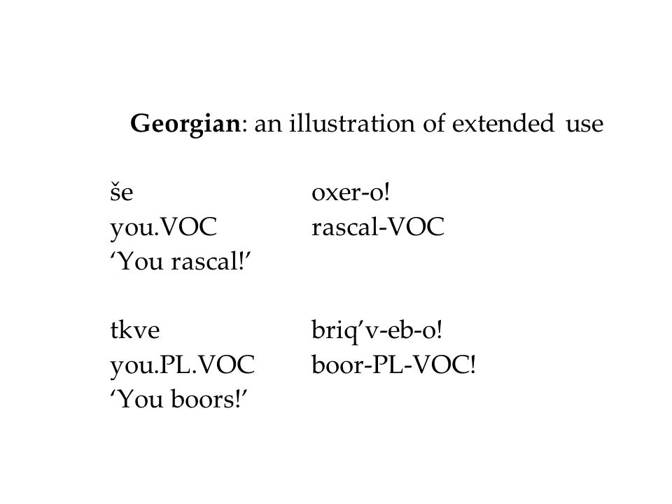 Georgian: an illustration of extended use še oxer-o! you.VOCrascal-VOC 'You rascal!' tkve briq'v-eb-o! you.PL.VOCboor-PL-VOC! 'You boors!'