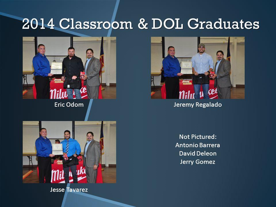 2014 Classroom & DOL Graduates Eric OdomJeremy Regalado Jesse Tavarez Not Pictured: Antonio Barrera David Deleon Jerry Gomez