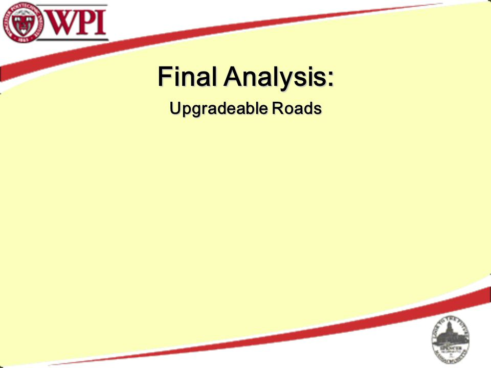 Final Analysis: Upgradeable Roads