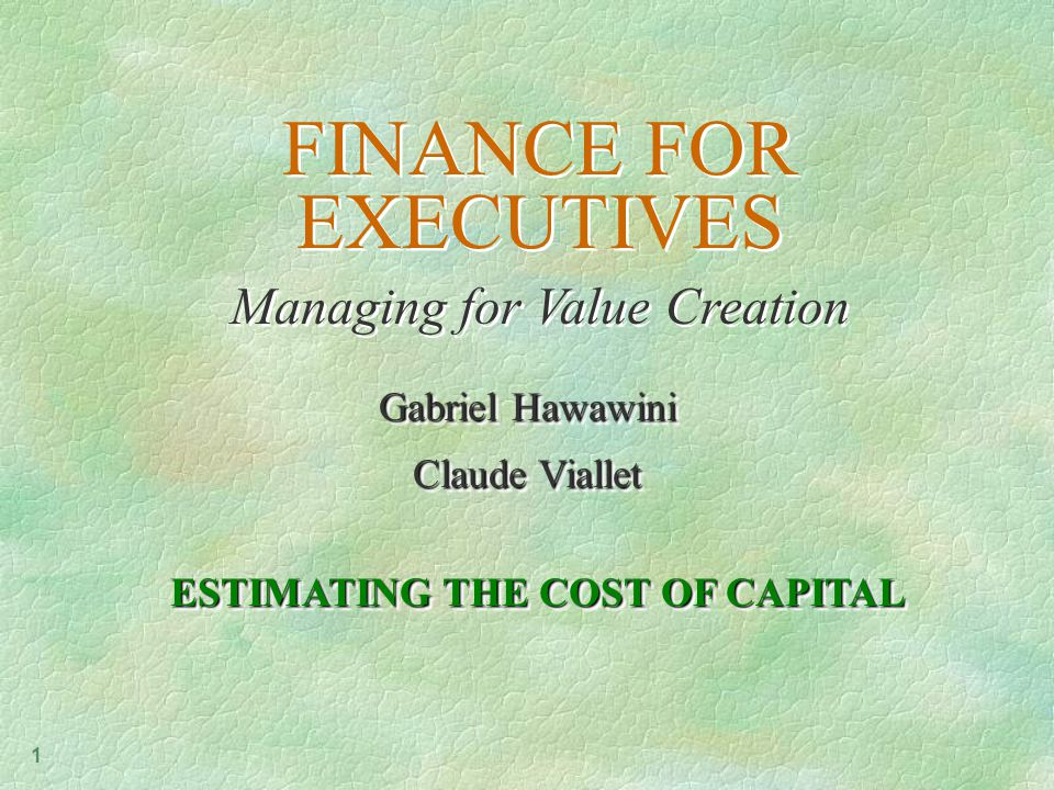 1 FINANCE FOR EXECUTIVES Managing for Value Creation FINANCE FOR EXECUTIVES Managing for Value Creation Gabriel Hawawini Claude Viallet Gabriel Hawawini Claude Viallet ESTIMATING THE COST OF CAPITAL