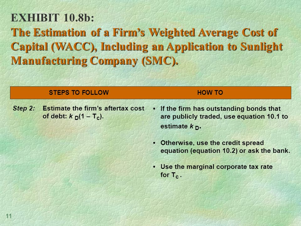 11 EXHIBIT 10.8b: The Estimation of a Firm's Weighted Average Cost of Capital (WACC), Including an Application to Sunlight Manufacturing Company (SMC).