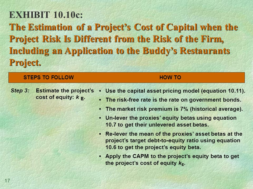 17 EXHIBIT 10.10c: The Estimation of a Project's Cost of Capital when the Project Risk Is Different from the Risk of the Firm, Including an Application to the Buddy's Restaurants Project.