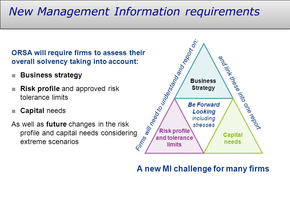 New Management Information requirements Be Forward Looking including stresses and link these into one report Firms will need to understand and report on: A new MI challenge for many firms Business Strategy Capital needs Risk profile and tolerance limits ORSA will require firms to assess their overall solvency taking into account: ■Business strategy ■Risk profile and approved risk tolerance limits ■Capital needs As well as future changes in the risk profile and capital needs considering extreme scenarios