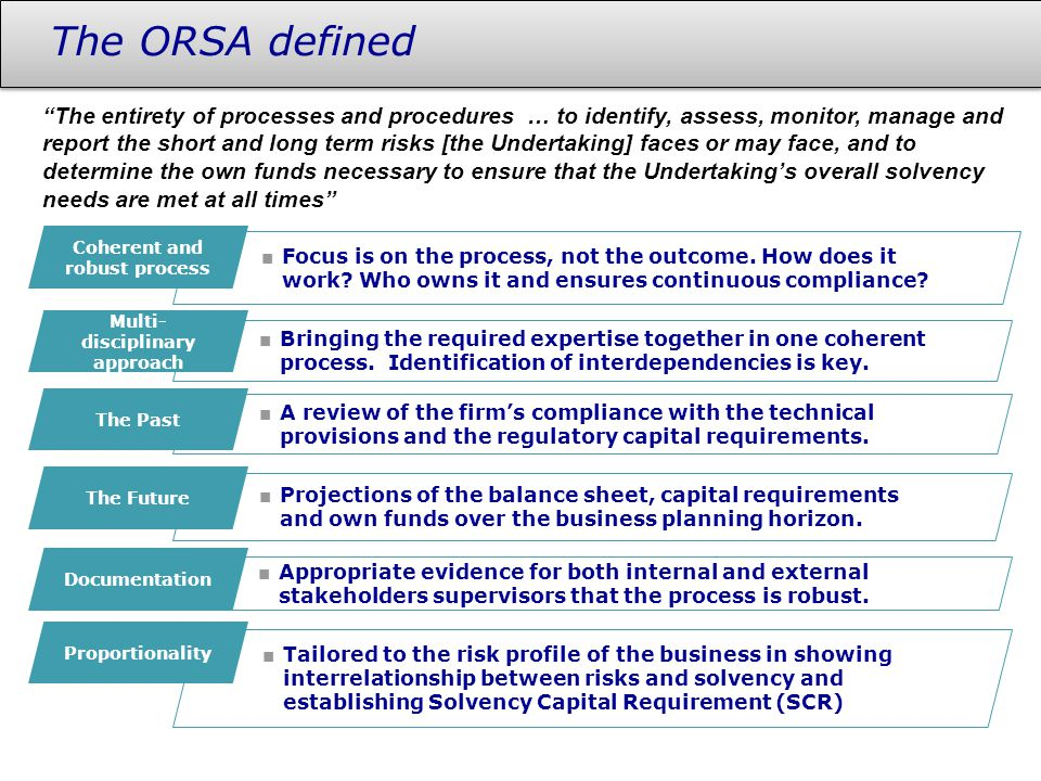 The ORSA defined ■ Focus is on the process, not the outcome. How does it work? Who owns it and ensures continuous compliance? ■ Bringing the required