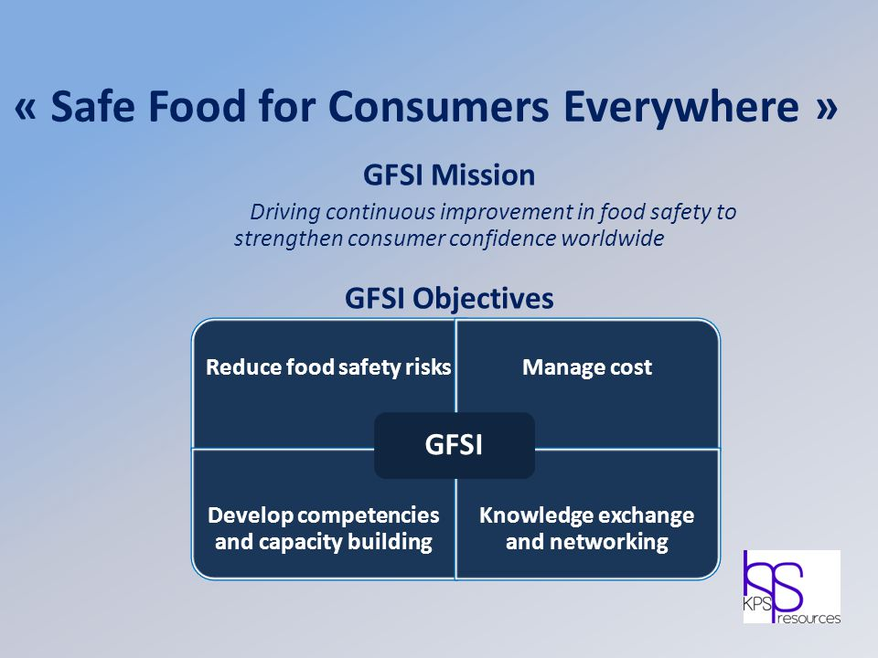 « Safe Food for Consumers Everywhere » GFSI Mission Driving continuous improvement in food safety to strengthen consumer confidence worldwide GFSI Obj