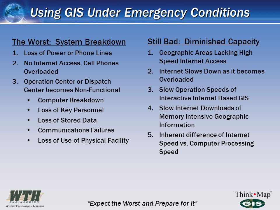 Using GIS Under Emergency Conditions The Worst: System Breakdown 1.Loss of Power or Phone Lines 2.No Internet Access, Cell Phones Overloaded 3.Operation Center or Dispatch Center becomes Non-Functional Computer Breakdown Loss of Key Personnel Loss of Stored Data Communications Failures Loss of Use of Physical Facility Still Bad: Diminished Capacity 1.Geographic Areas Lacking High Speed Internet Access 2.Internet Slows Down as it becomes Overloaded 3.Slow Operation Speeds of Interactive Internet Based GIS 4.Slow Internet Downloads of Memory Intensive Geographic Information 5.Inherent difference of Internet Speed vs.