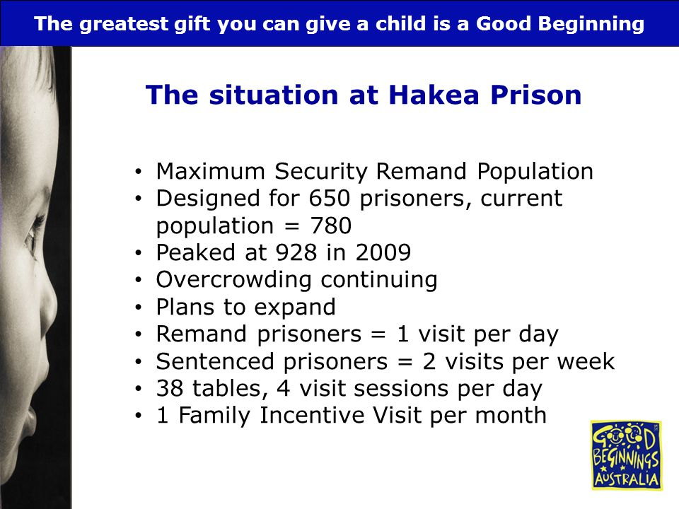 The greatest gift you can give a child is a Good Beginning The situation at Hakea Prison Maximum Security Remand Population Designed for 650 prisoners