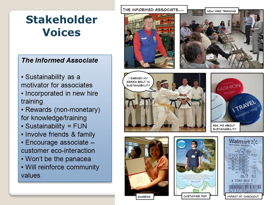 WalMart_May09 The Informed Associate Sustainability as a motivator for associates Incorporated in new hire training Rewards (non-monetary) for knowledge/training Sustainability = FUN Involve friends & family Encourage associate – customer eco-interaction Won't be the panacea Will reinforce community values The Informed Associate Sustainability as a motivator for associates Incorporated in new hire training Rewards (non-monetary) for knowledge/training Sustainability = FUN Involve friends & family Encourage associate – customer eco-interaction Won't be the panacea Will reinforce community values Stakeholder Voices