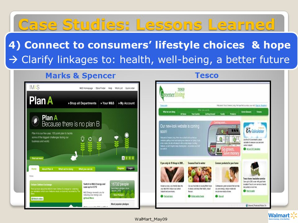 WalMart_May09 Marks & SpencerTesco Case Studies: Lessons Learned 4) Connect to consumers' lifestyle choices & hope  Clarify linkages to: health, well-being, a better future