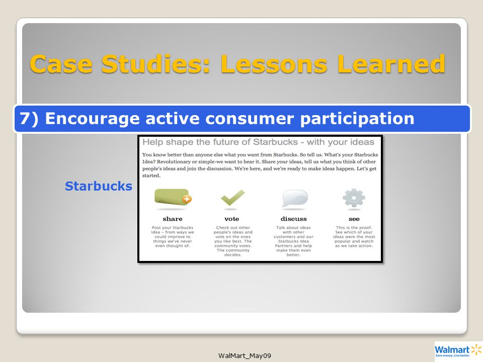 WalMart_May09 Case Studies: Lessons Learned Starbucks 7) Encourage active consumer participation