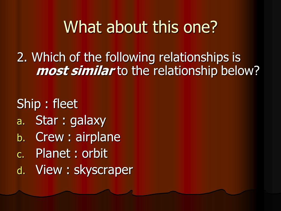 1.Which of the following is most similar to the relationship below? surgeon : doctor a.Foot : body b.Nurse : study c.Painter : artist d.Hospital : eme