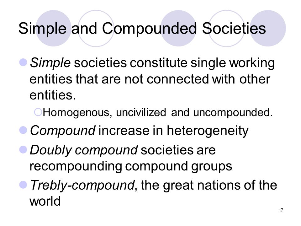 Simple and Compounded Societies Simple societies constitute single working entities that are not connected with other entities.